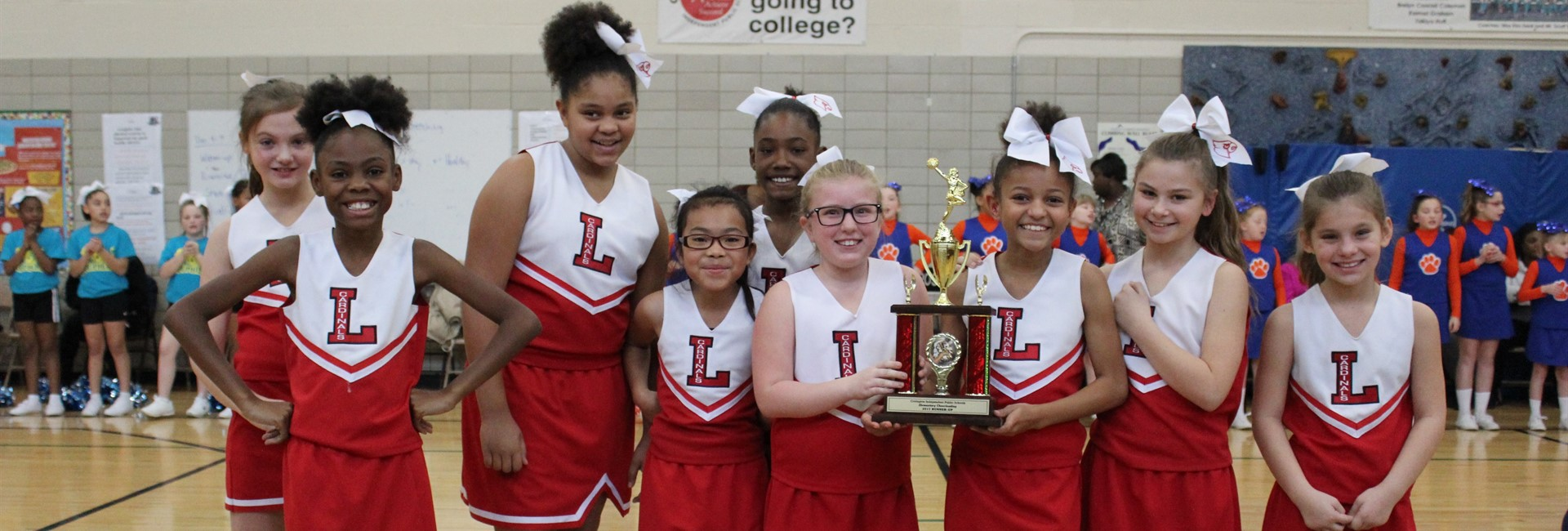 Latonia Elementary cheerleaders win 2nd place in the cheerleading competition.