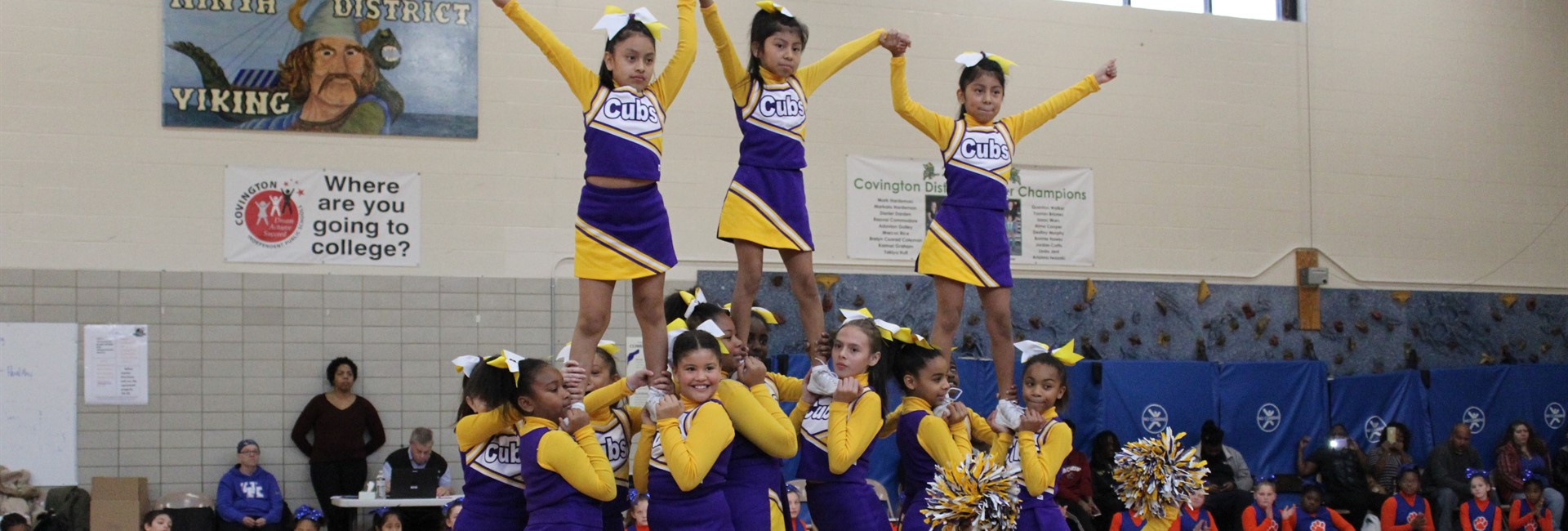 John G. Carlisle cheerleaders compete in the cheerleading competition.