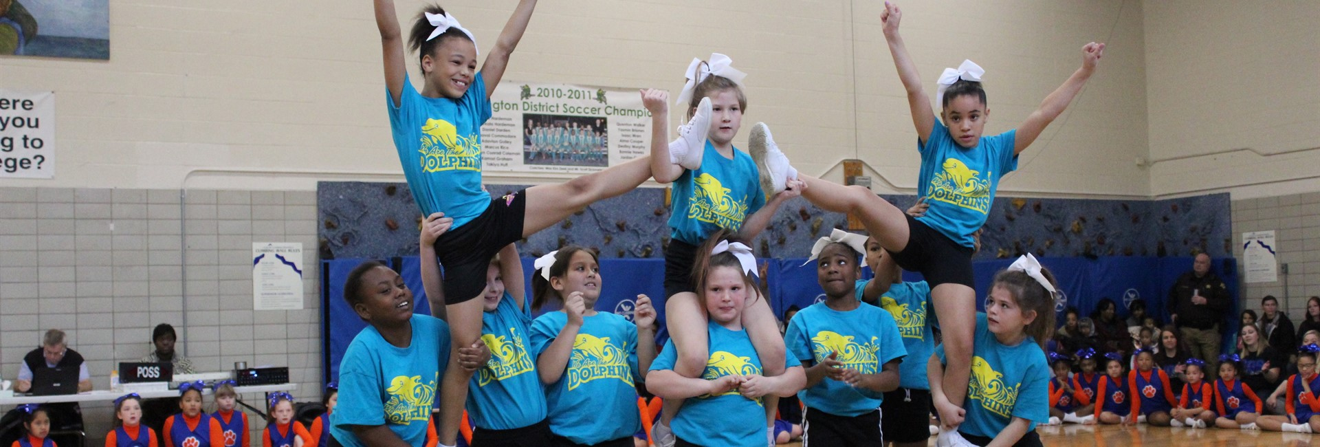 Sixth District cheerleaders compete in the cheerleading competition.