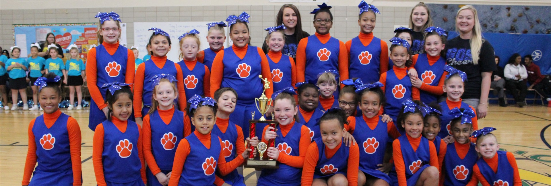 Glenn O. Swing cheerleaders win 1st place in the cheerleading competition.